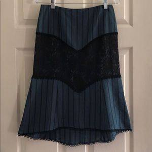 Nanette Lepore blue striped skirt with lace inlay